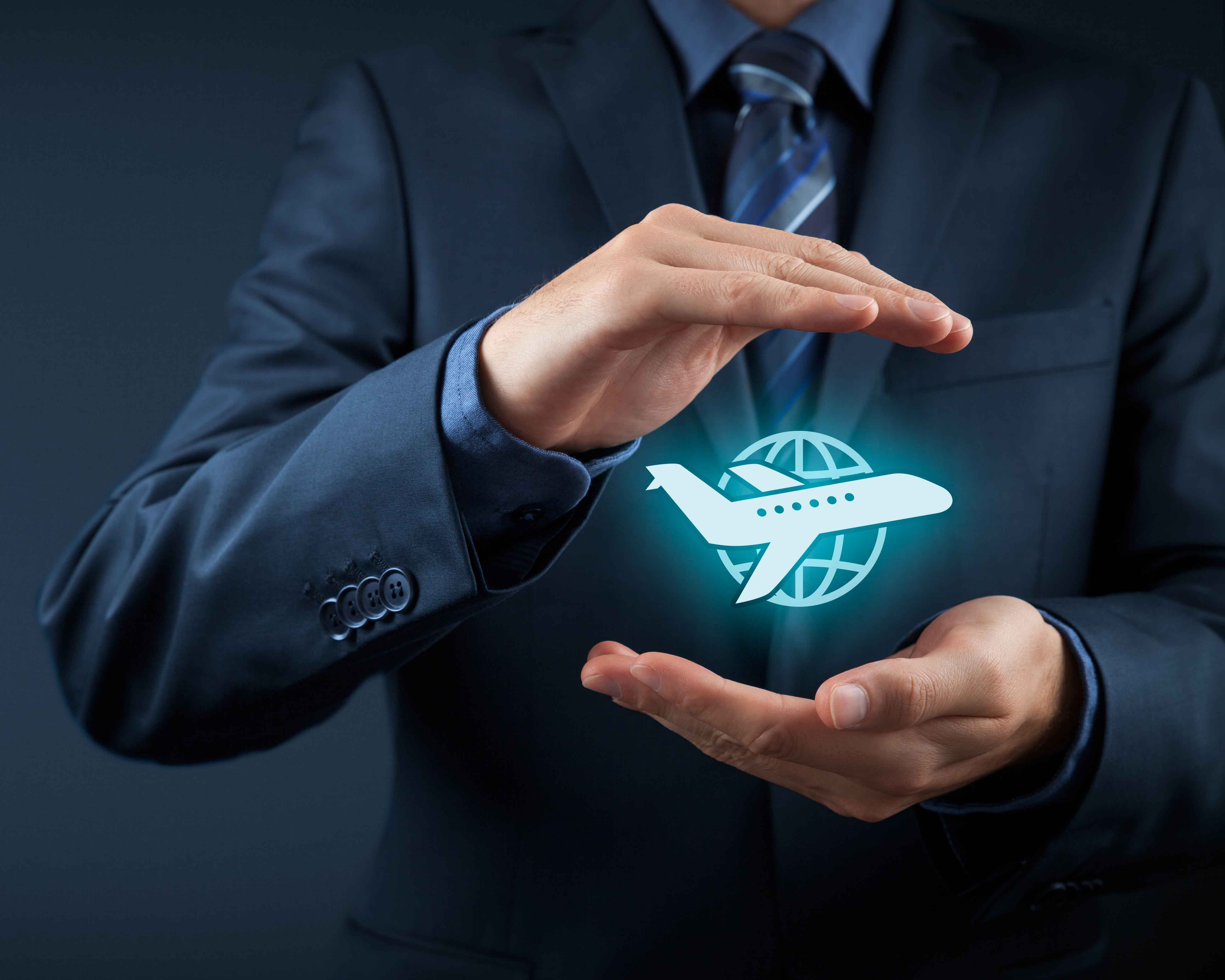 hands holding a globe with a plane