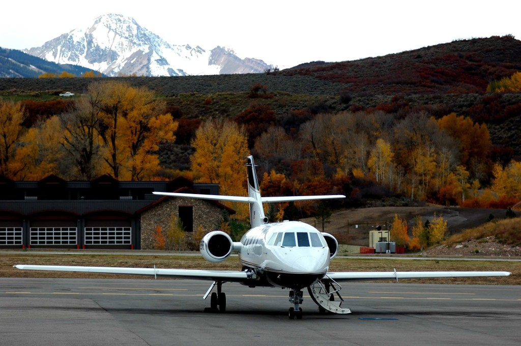 private jet in the mountains